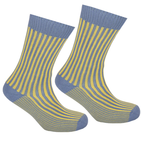 Cotton Striped Socks Grey and Yellow