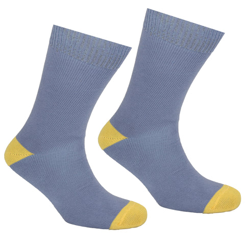 Cotton Heel and Toe Socks Grey and Yellow