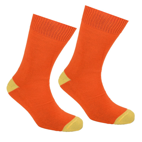 Cotton Heel and Toe Socks Orange and Yellow