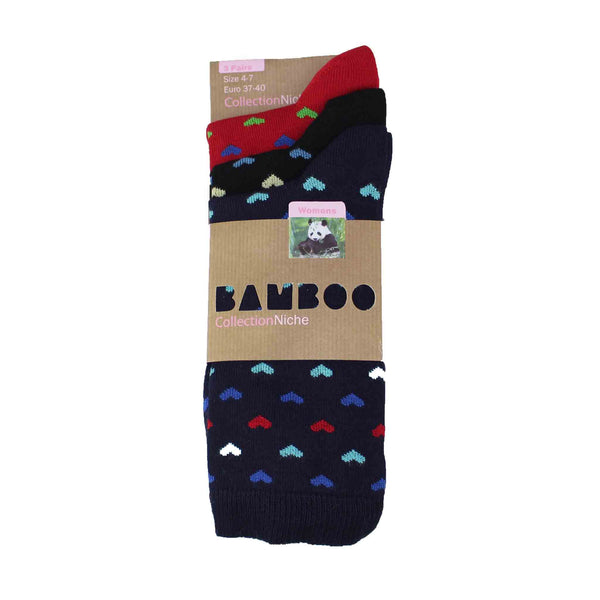 Women's 100% Bamboo Heart Socks - 3 pack