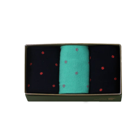 Women's Bamboo Gift Box Black and Green Polka Dots