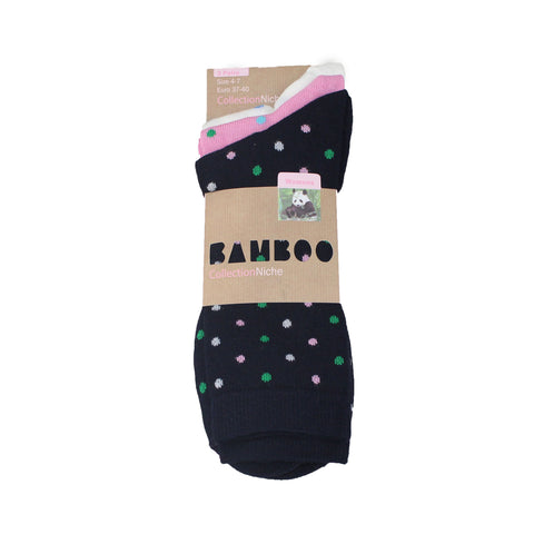Women's 100% Bamboo White Pink Black Polka Dot