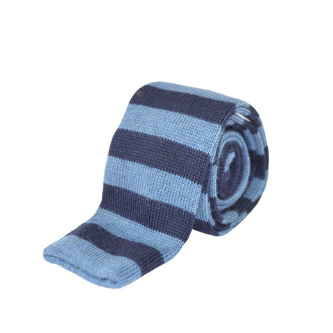 100% Wool Striped Tie Navy and Light Blue