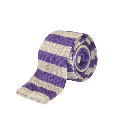 100% Wool Striped Tie Purple and Grey