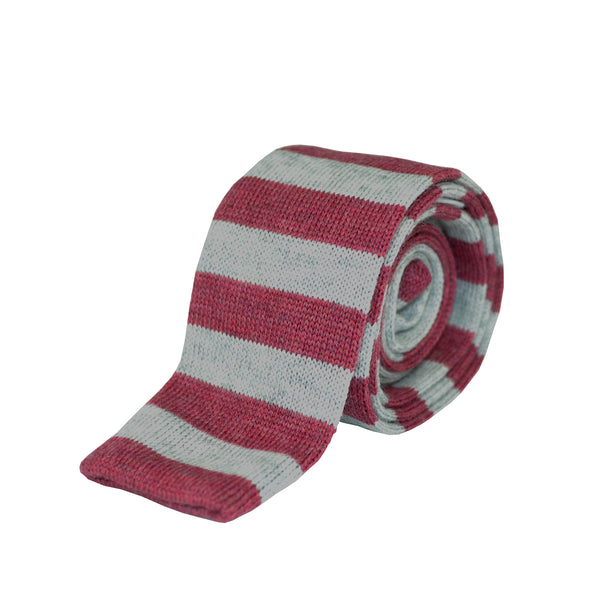 100% Wool Striped Tie Grey and Red