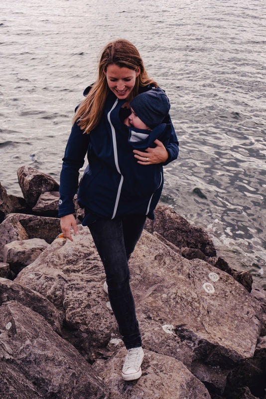 Mamalila Softshell Babywearing Jacket - Navy Ice - Slings and Things