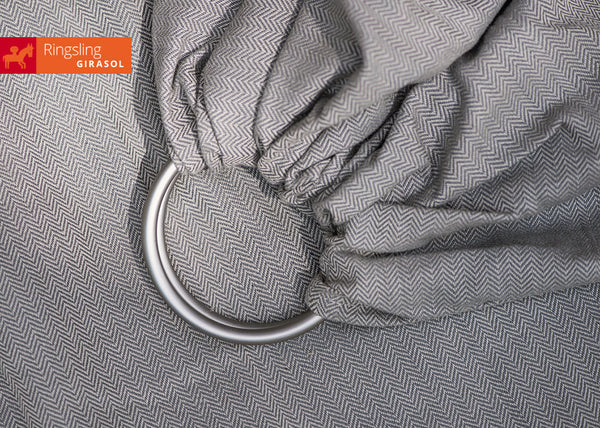 Girasol Grey Herringbone Weave Ring Sling - Slings and Things
