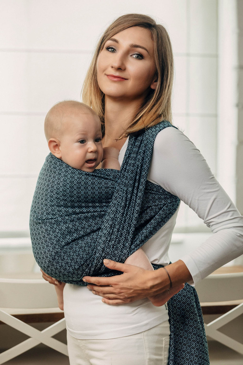 Lenny Lamb Woven Wrap - Little Love Ocean Blue - Slings and Things