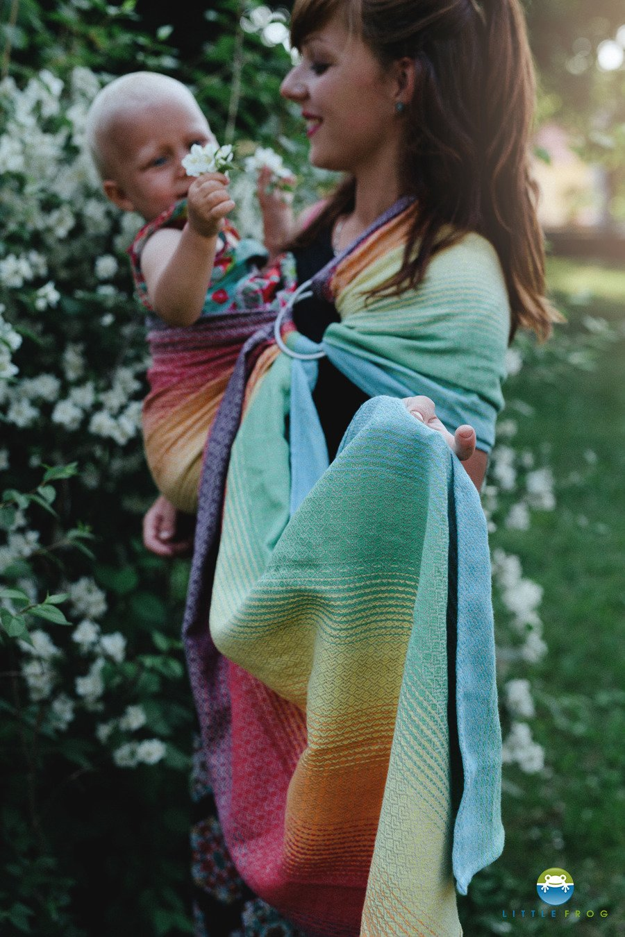 Little Frog Ring Sling - Lovely Linen Rainbow - Slings and Things