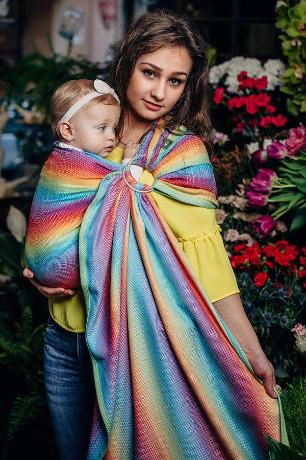 Lenny Lamb Ring Sling - Little Herringbone Rainbow Light - Slings and Things