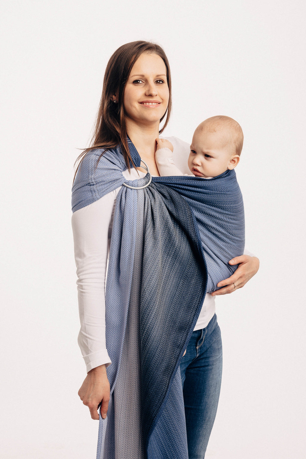 Lenny Lamb Ring Sling - Little Herringbone Ombre Blue - Slings and Things