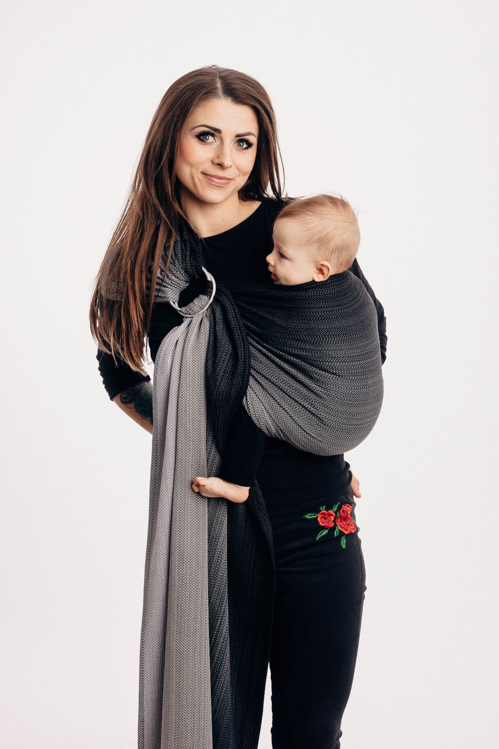 Lenny Lamb Ring Sling - Little Herringbone Ombre Grey - Slings and Things