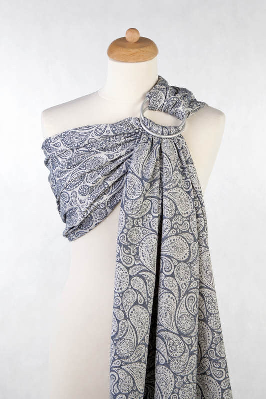 Lenny Lamb Ring Sling - Paisley Navy Blue and Cream - Slings and Things
