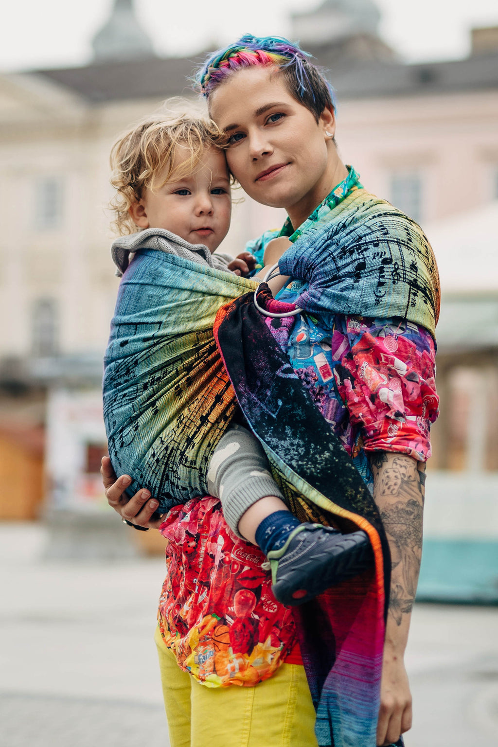Lenny Lamb Ring Sling - Symphony Rainbow Dark - Slings and Things