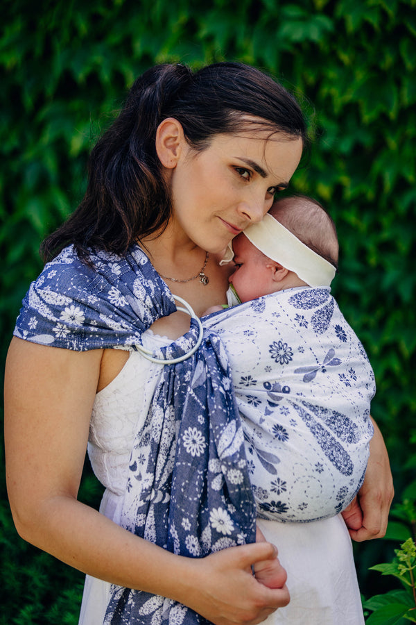 Lenny Lamb Bamboo Mix Ring Sling - Dragonfly White and Navy Blue