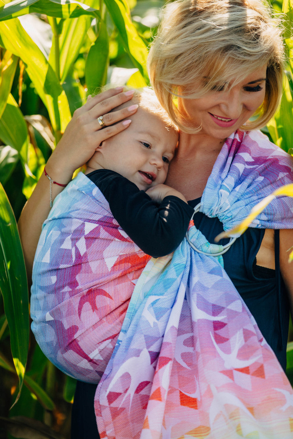 Lenny Lamb Ring Sling - Swallows Rainbow Light - Pleated Shoulder - Slings and Things
