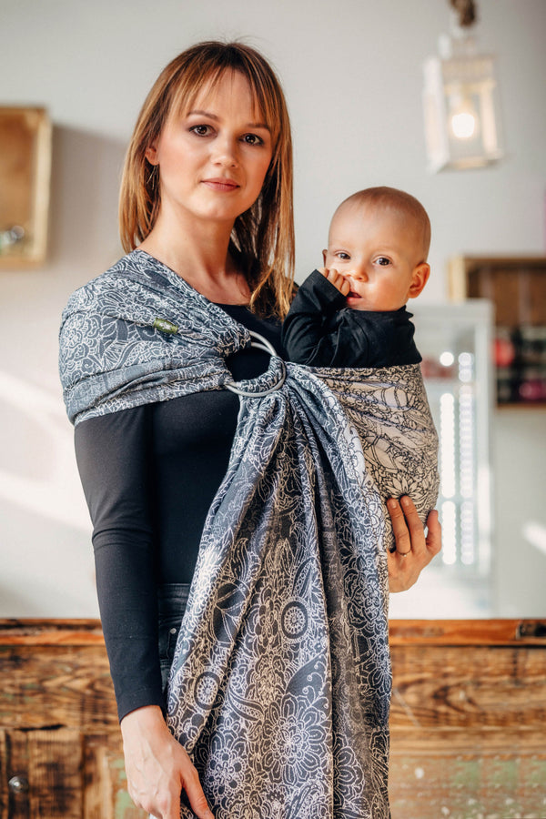 Lenny Lamb Ring Sling - Wild Wine Grey and White - Slings and Things