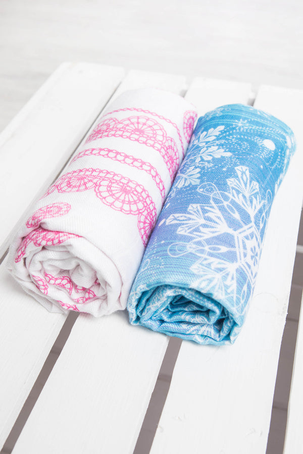 Lenny Lamb Swaddle Wrap Set - Snow Queen, Iced Lace Pink and White