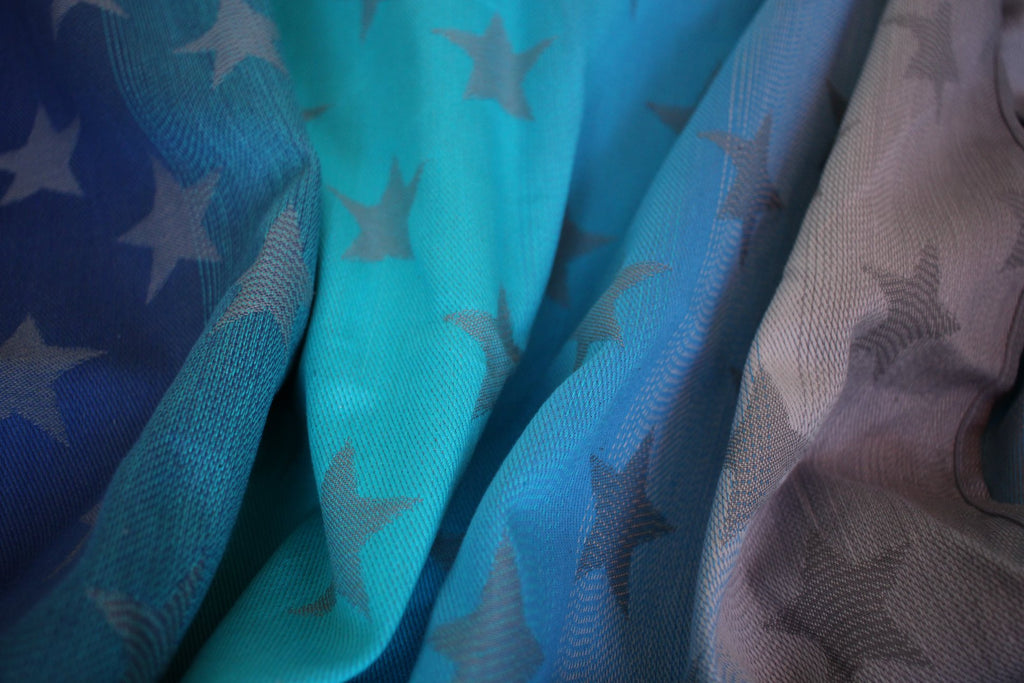 Yaro Ring Sling - Stars Aqua Grad Grey - Slings and Things