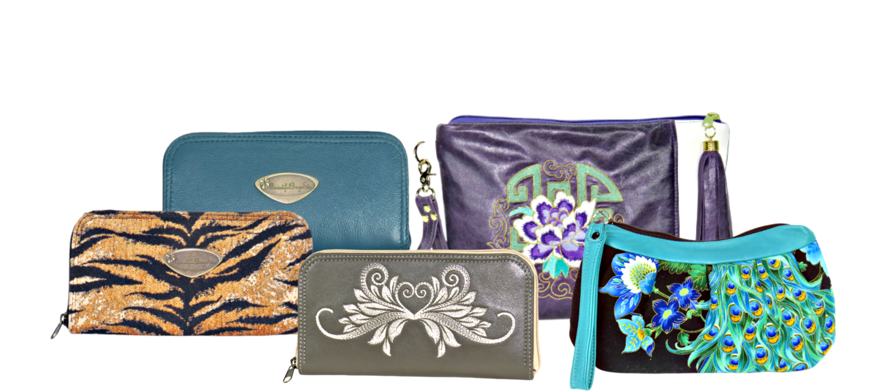 Leather and Tapestry wallets clutches and zipper pouches made in USA