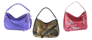 Genuine leather and tapestry Slouch Handbags made in USA