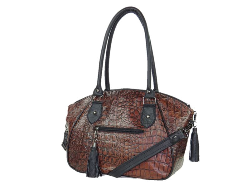 Handmade leather and tapestry satchel handbags made in USA