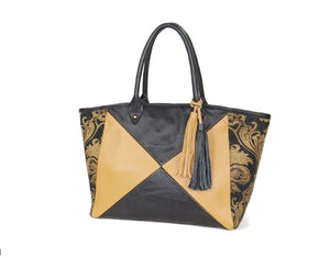 leather and tapestry tote bags