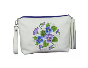Pansies Embroidery Leather Wristlet