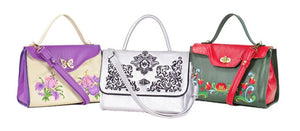 Top Handle Embroidered Leather Flap Bags made in USA