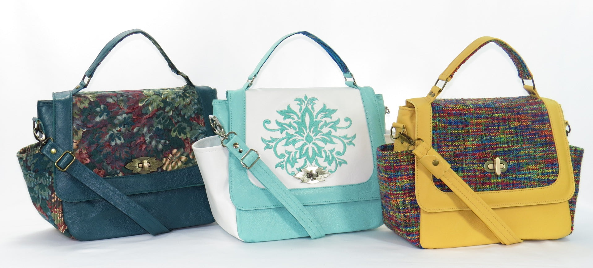 Handmade in USA Leather and Tapestry Handbags