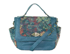 leather and tapestry top handle flap bags
