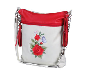 Valentine Rose Genuine Leather Cross Body Bag