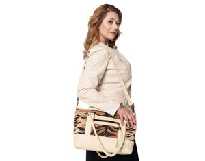 leather and tapestry tote handbags made in USA