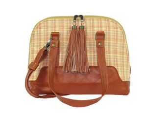 Leather and tapestry bowler bags made in USA