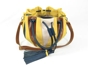 handmade leather and tapestry bucket bags made in usa