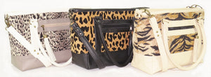animal print and leather totes