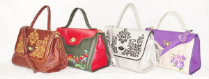embroidered leather flap bags