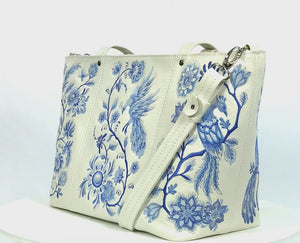 Blue Willow Embroidered Leather Tote