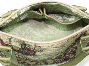 American Map Tapestry Satchel interior pockets