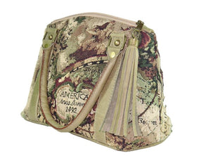 American Map Tapestry Satchel side view