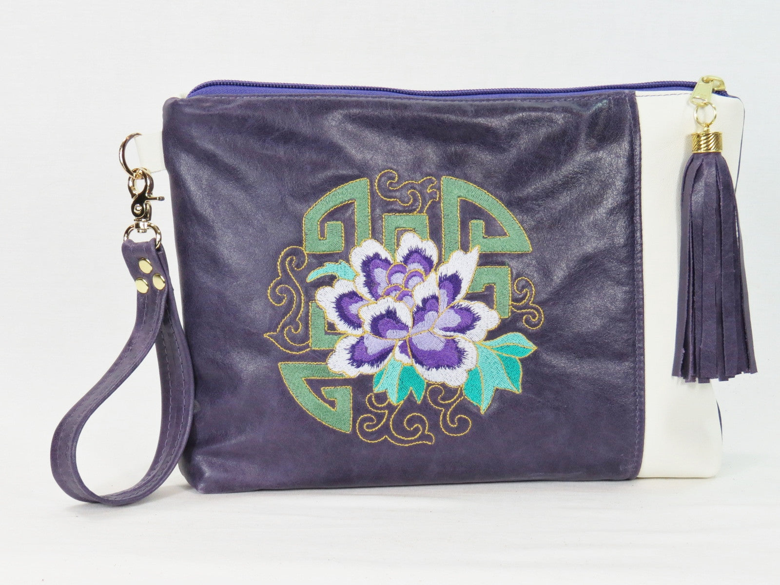 Amethyst and White Leather Zipper Clutch China Block Embroidery