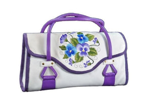 Amy Butler Blossom Handbag Genuine Leather Ivory Embroidered Pansies