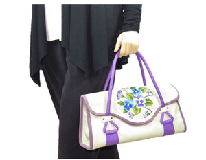Amy Butler Blossom Handbag Genuine Leather Ivory Embroidered Pansies model view