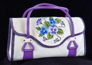 Amy Butler Blossom Handbag Genuine Leather Ivory Embroidered Pansies black background