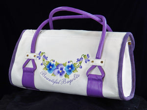 Amy Butler Blossom Handbag Genuine Leather Ivory Embroidered Pansies back side