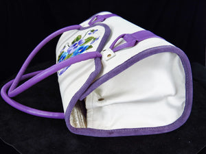 Amy Butler Blossom Handbag Genuine Leather Ivory Embroidered Pansies side view