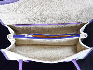 Amy Butler Blossom Handbag Genuine Leather Ivory Embroidered Pansies interior zipper pocket