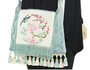 Asian Embroidered Boho Gypsy Fringe Bag model 2
