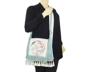Asian Embroidered Boho Gypsy Fringe Bag model