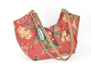 Autumn Floral Print on Canvas Tote Style Handbag